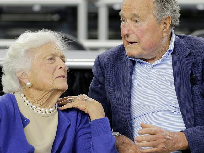 The 92-year-old, pictured with husband George H.W. Bush, is in 'failing health' and is focusing on comfort at home. Picture: AP Photo/David J. Phillip, File