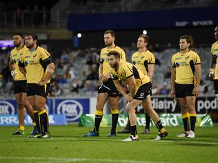 Western Force players react after losing the Round 3 Super Rugby match between the ACT Brumbies and the Western Force at GIO Stadium in Canberra, Friday, March 10, 2017. (AAP Image/Lukas Coch) NO ARCHIVING, EDITORIAL USE ONLY