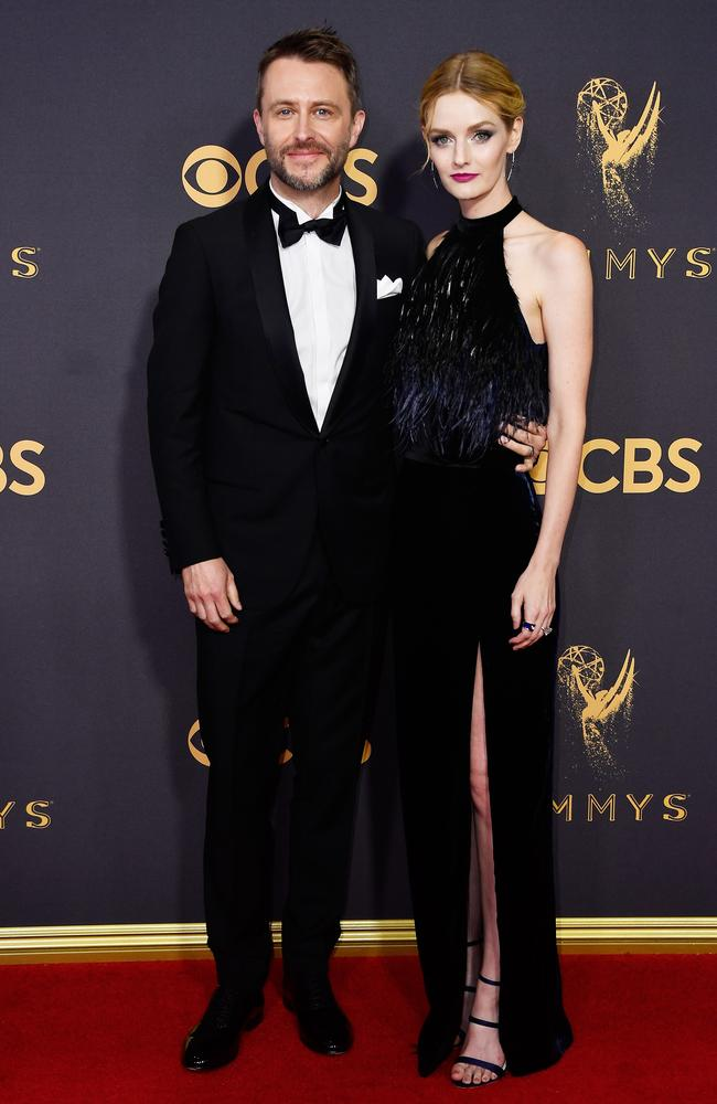 Chris Hardwick and Lydia Hearst attend the 69th Annual Primetime Emmy Awards at Microsoft Theater on September 17, 2017 in Los Angeles. Picture: Getty