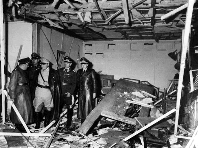 Senior German officers, including Martin Bormann and Herman Goring inspect the conference room at the Wolf's Lair after the unsuccessful assassination attempt made by Claus von Stauffenberg in July 1944. Picture: German Federal Archives / Wikipedia