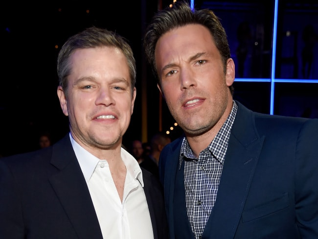 Production partners Matt Damon and Ben Affleck. Photo: Frazer Harrison / Getty