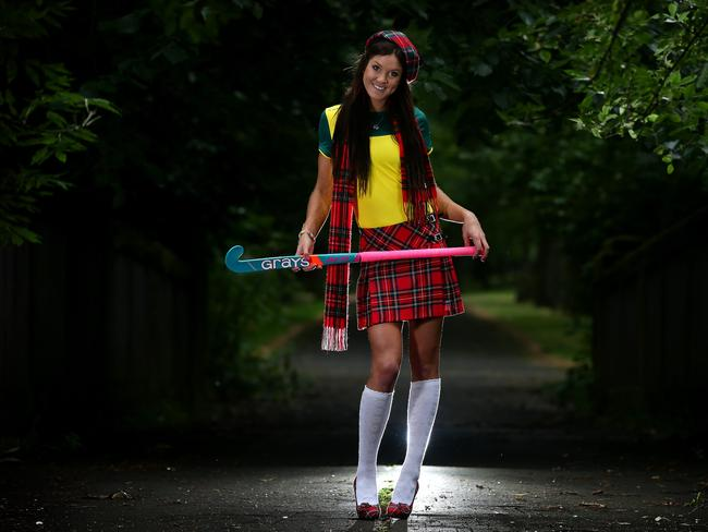 Australian hockey player Anna Flanagan gets into the local spirit ahead of the Commonwealth Games. Picture Adam Head