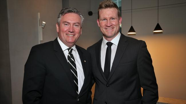 Collingwood president Eddie McGuire and coach Nathan Buckley. Picture: Hamish Blair