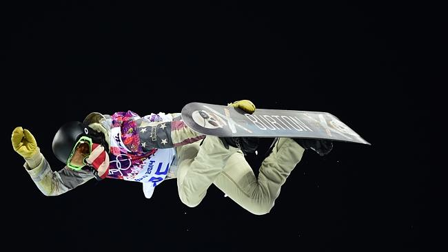 US Shaun White competes in the Men's Snowboard Halfpipe Final at the Rosa Khutor Extreme Park.