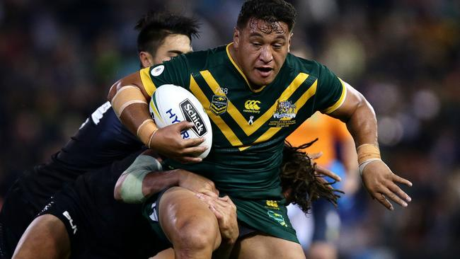 Josh Papalii in action for the Kangaroos against New Zealand last year. Picture : Gregg Porteous
