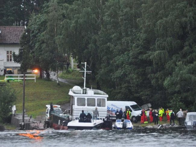 Police and emergency services arrive at Utoya Island in Norway where Breivik gunned down 69 people, most of them teenagers attending a Labour Youth summer camp.