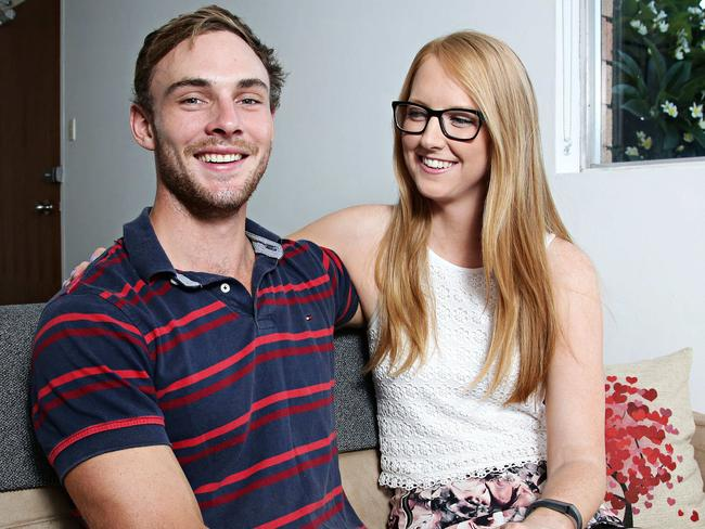 Jonathon Hedges and Lisa Spalding at their rented apartment in Gladesville. Picture: Adam Yip