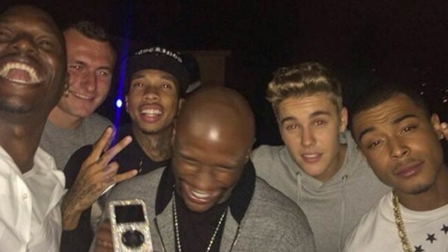 Gibson, Manziel, Mayweather, Bieber and Tyga partying hard.