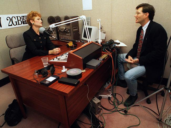 Back to where it all began: Pauline Hanson with David Oldfield during a 2GB radio talkback session in 1997. Picture: News Corp.