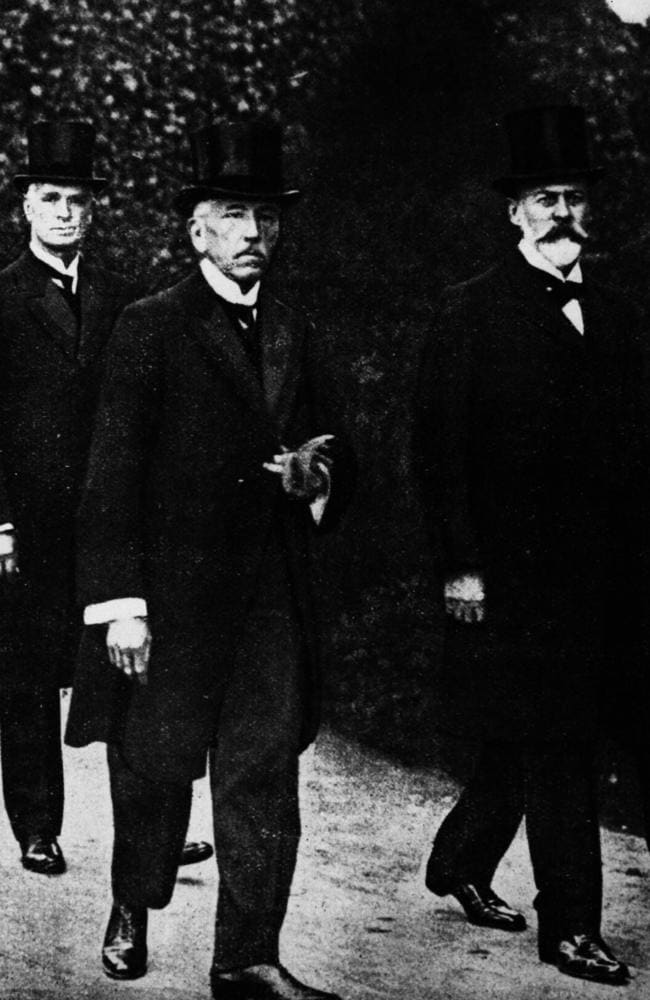 Three wartime prime ministers ... Andrew Fisher, Billy Hughes and Sir Joseph Cook in 1918.