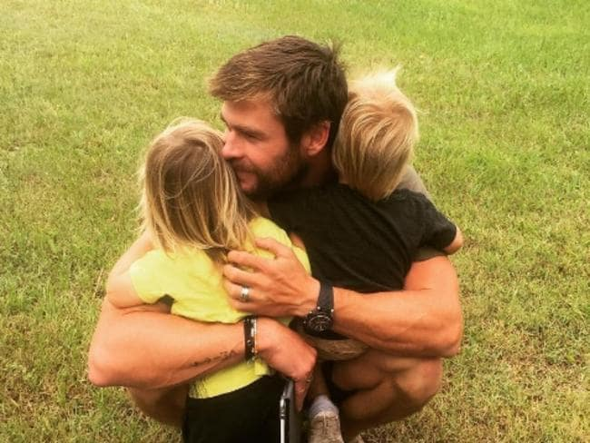 Chris Hemsworth with his own kids Tristan and Sasha. Picture: Instagram