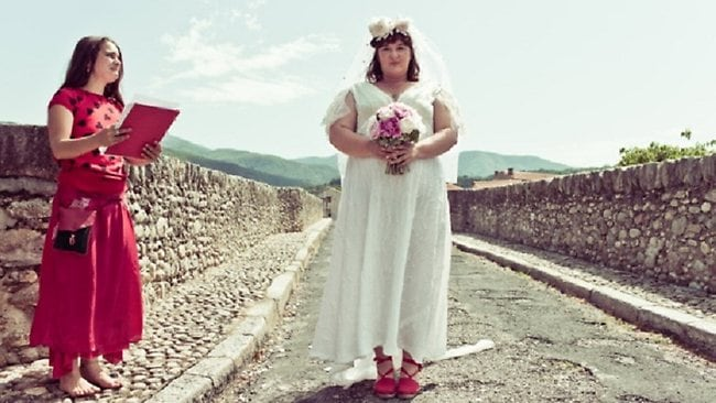 Jodi Rose seen here marrying Le Pont du Diable Bridge in Cret, southern France. Picture: Christian Schallert
