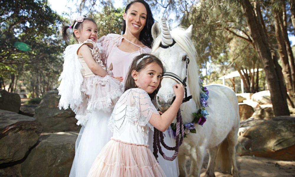 19/9/17 Sarah Eastwood with her daughters Mila Eastwood (5) and Sophie Eastwood (2) as well as Turbo Hamroll (Welsh Pony 7) the Unicorn at Bilarong Reserve North Narrabeen. Adam Yip/ Manly Daily