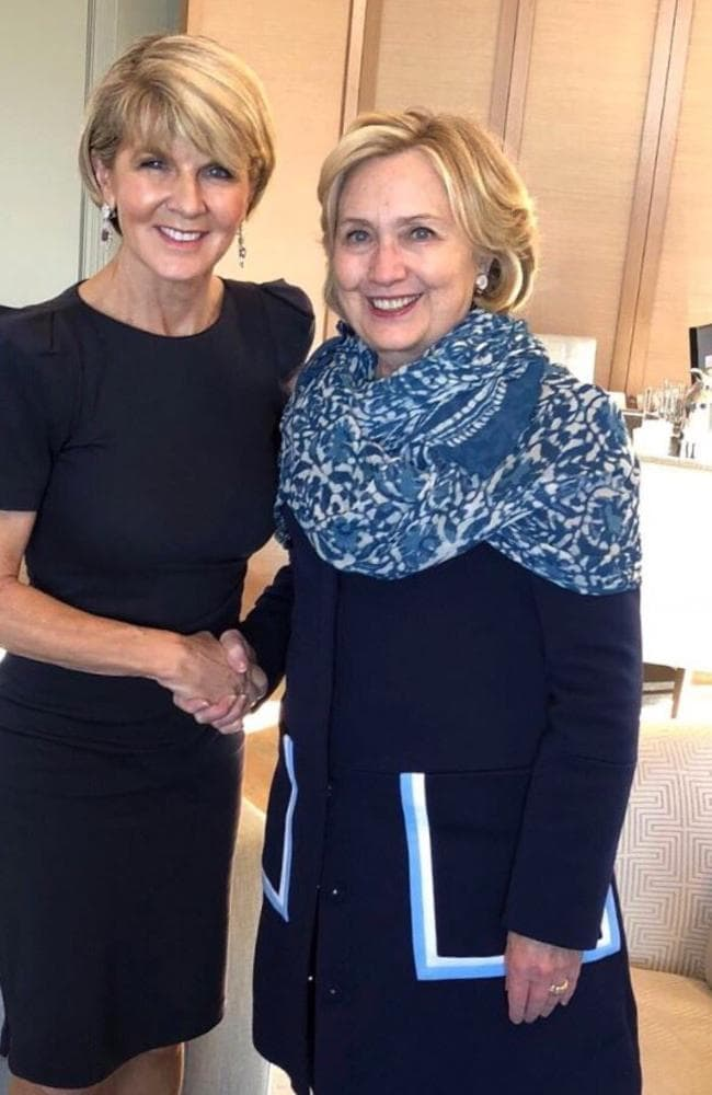Hillary Clinton with Australian Foreign Affairs Minister Julie Bishop at the weekend. Picture: Twitter.