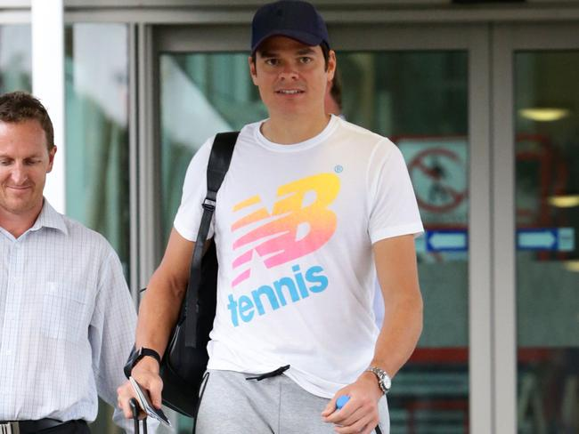 Milos Raonic arrives for the Brisbane International. Picture: Darren England.