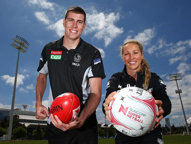 Mason Cox of the Magpies' AFL team and the Magpies' Super Netball latest recruit Erin Bell.