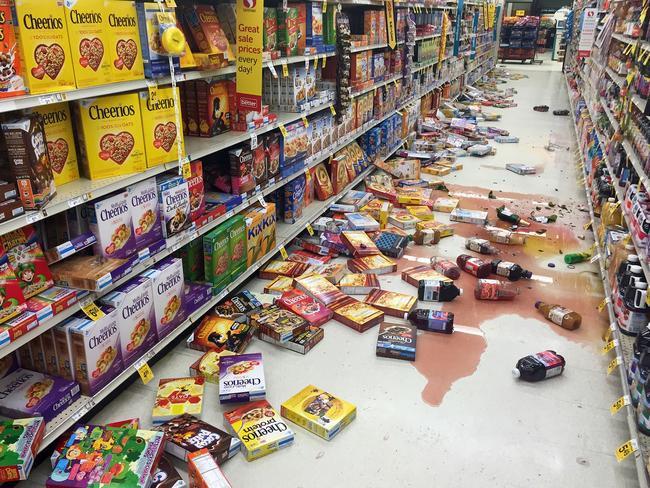 Damage ... the magnitude 6.8 earthquake caused groceries to fall off the shelves at Safeway on the Kenai Peninsula in south-central Alaska. Picture: Vincent Nusunginya via the AP