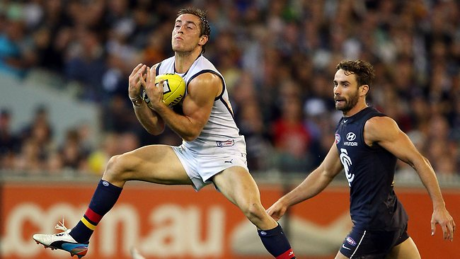 Richard Douglas marks the ball during the Crows' shocker against the Blues at the MCG. Picture: Michael Dodge.