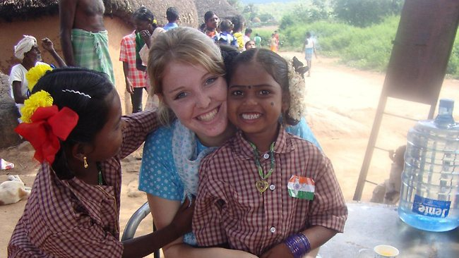 Gifted student Megan Bonner has worked on several humanitarian projects in India since she finished school. Picture: Supplied