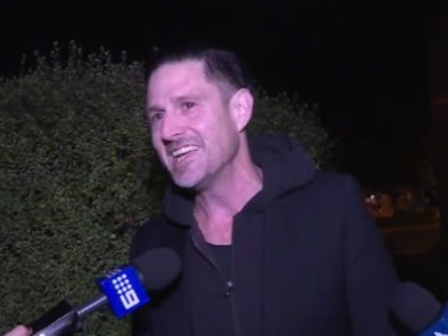 Wil Anderson following his arrest at Wagga Wagga Airport this afternoon. Picture: Supplied/Nine News