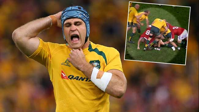 """CHARGED: James Horwill has vbeen cited for """"stamping"""" against the British and Irish Lions at Suncorp Stadium."""