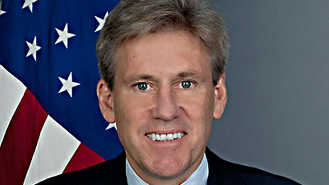 """This US State Dperatment official photo obtained September 12, 2012 shows US ambassador to Libya J. Christopher Stevens. The American ambassador to Libya, J. Christopher Stevens, and three officials were killed when a mob attacked the US consulate in the eastern city of Benghazi, the interior ministry said Wednesday. The envoy died when an armed mob protesting against a film deemed offensive to Islam attacked the US mission, just hours after Islamists also stormed Washington's embassy in the Egyptian capital Cairo. Stevens, a career officer with the US foreign service, had been in the country for less than four months after taking up his post in the capital Tripoli in May. AFP PHOTO / HANDOUT / US State Department = RESTRICTED TO EDITORIAL USE - MANDATORY CREDIT """" AFP PHOTO / US State Department """" - NO MARKETING NO ADVERTISING CAMPAIGNS - DISTRIBUTED AS A SERVICE TO CLIENTS ="""