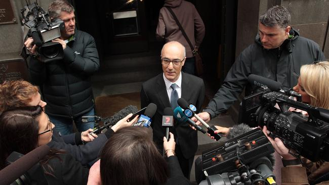 Rebel Wilson's lawyer Richard Leder speaks to the media outside the Victorian Supreme Court today. AAP Image/Stefan Postles