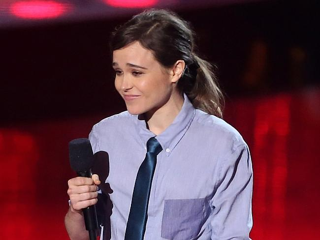 Ellen Page speaks onstage at the 2014 MTV Movie Awards at Nokia Theatre in LA.