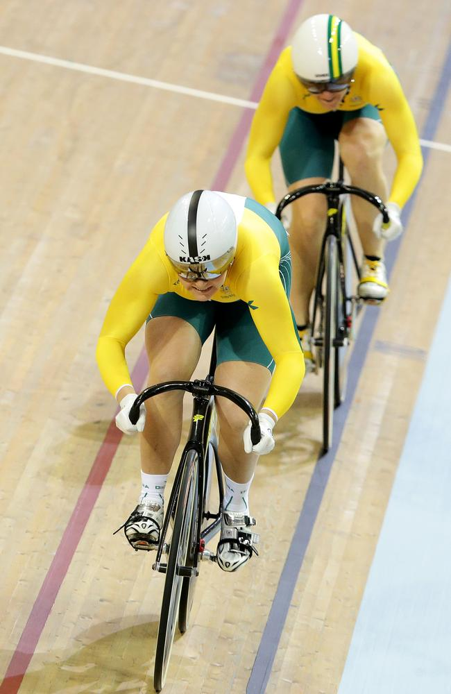 Stephanie Morton gets the better of Anna Meares in the track sprint. Picture: Adam Head