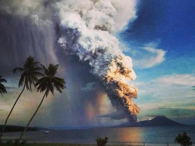 Trouble in a tropical paradise ... the eruption has sent locals into a panic. Picture: Twitter