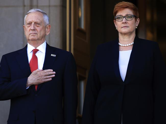 Secretary of Defence Jim Mattis and Australian Defence Minister Marise Payne spoke about North Korea. Picture: AP
