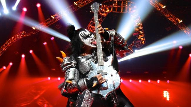 Gene Simmons on stage with KISS. The band tour Australia next month.