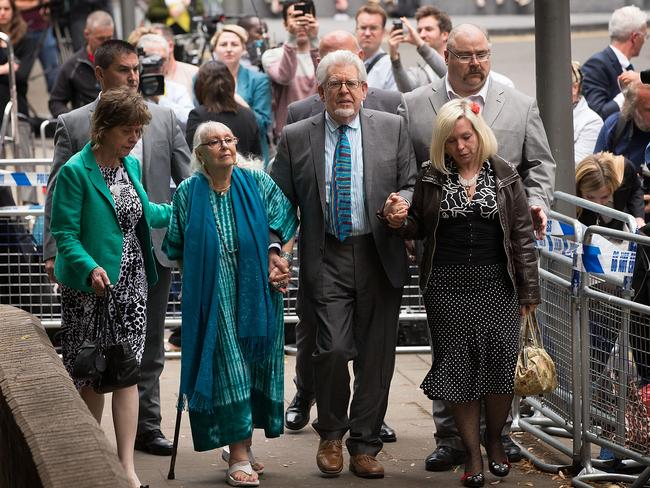 Guilty: Rolf Harris leaves court after hearing the verdict. Photo by Matthew Lloyd/Getty Images.