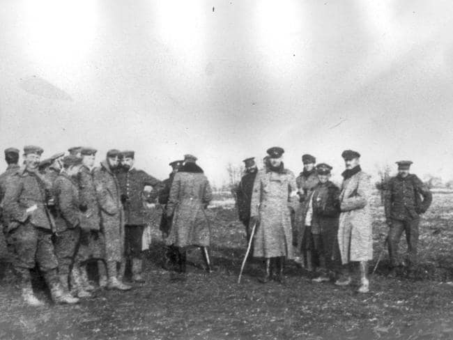 German and British troops meet in no-mans land along the Western Front, Christmas Day 1914. Picture: Supplied.