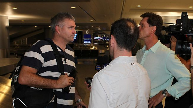 Peter Rohde, manager of Port Adelaide, talks to reporters in Las Vegas. Picture: Rupert Thorpe