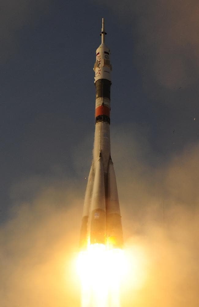 Lift-off ... Expedition 46-47 crew members ESA astronaut Tim Peake, NASA astronaut Tim Kopra and commander Yuri Malenchenko launch into space from Baikonur cosmodrome. Picture: ESA - Stephane Corvaja via Getty Images