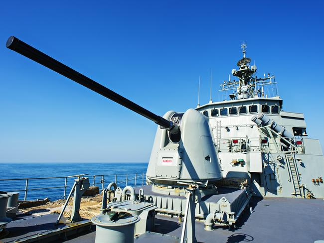 Heading to intercept the Russian flotilla ... Royal Australian Navy (RAN) ship HMAS Stuart, with its 127mm gun capable of firing 20 rounds per minute. Picture: New Corp Australia
