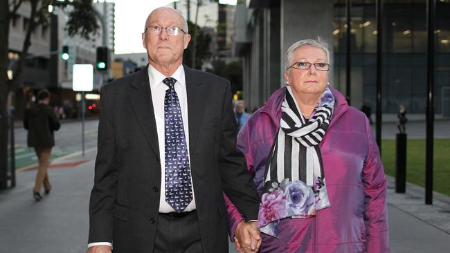 Gerard Baden-Clay's parents Nigel and Elaine Baden-Clay outside court on day three. Pic: Jack Tran