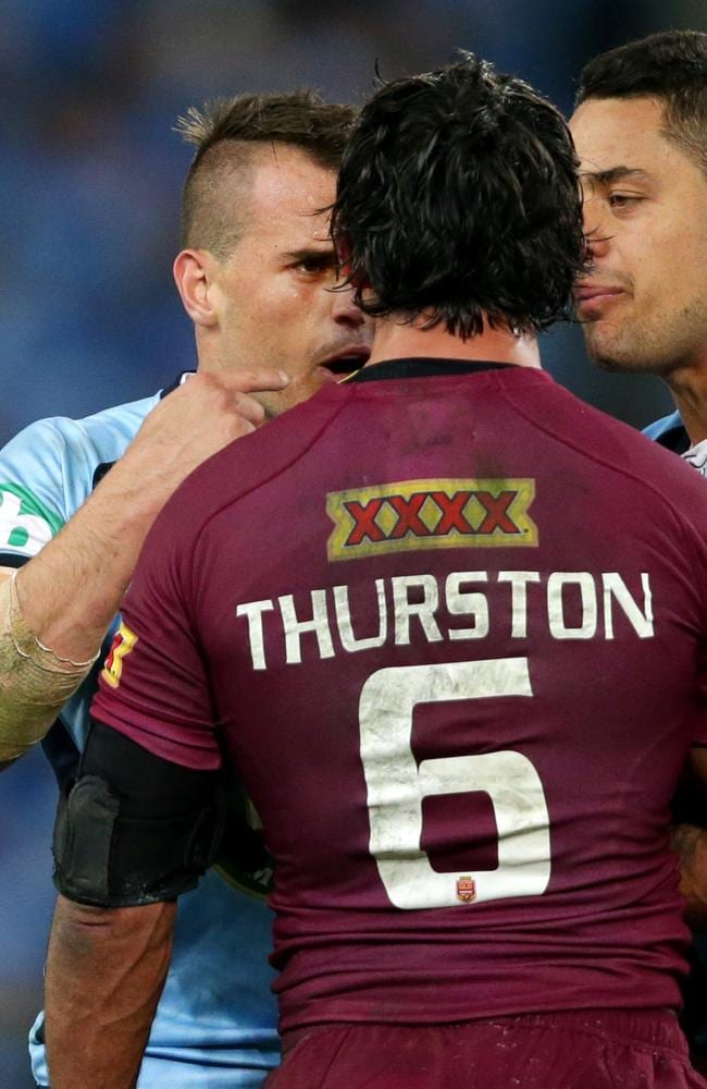 Josh Reynolds and Johnathan Thurston have words after Thurston used an elbow to Reynolds throat.