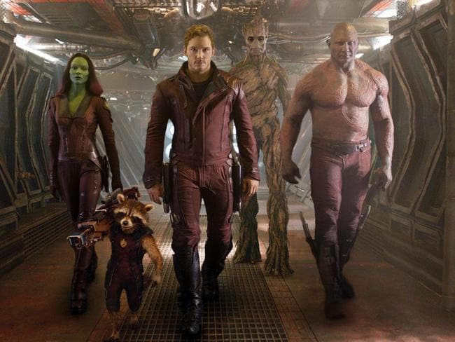 Zoe Saldana, the character Rocket Racoon, voiced by Bradley Cooper, Chris Pratt, the character Groot, voiced by Vin Diesel and Dave Bautista in a scene from  <i>Guardians Of The Galaxy</i>. Picture: AP