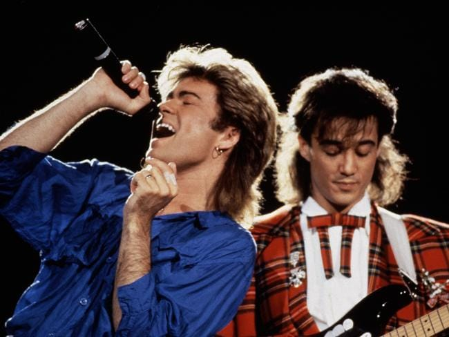 George Michael and Andrew Ridgeley of Wham! performing in Japan in January 1985. Picture: Getty