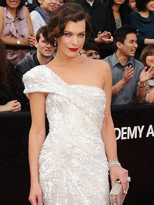 Milla Jovovich arrives at the 84th Annual Academy Awards held at the Hollywood & Highland Center on February 26, 2012 in Hollywood, California. Picture: Getty Images