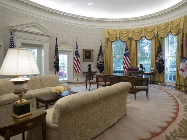 The newly-renovated Oval Office. Picture: AP Photo/Carolyn Kaster