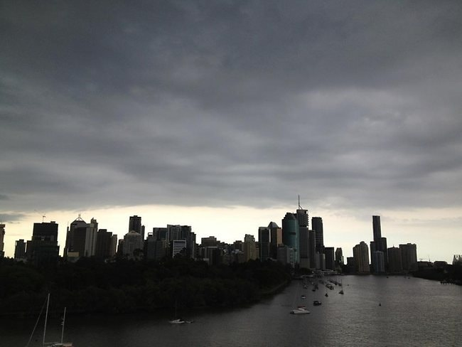 Clouds over Brisbane's CBD on Wednesday afternoon. Picture: Darren England.