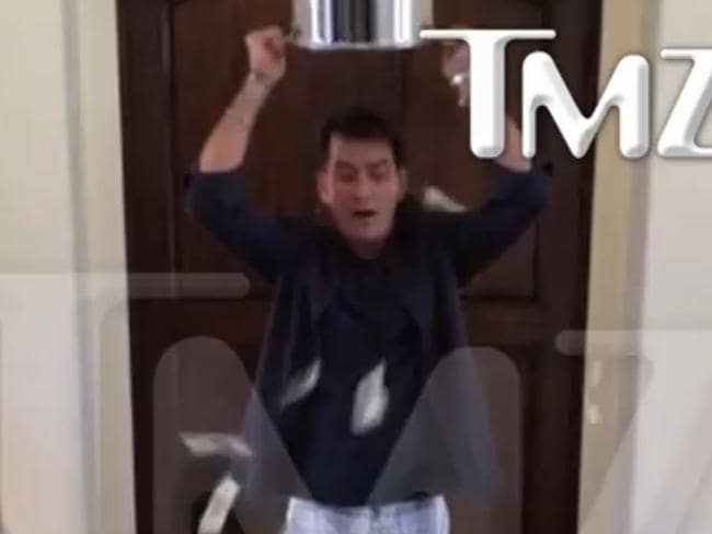 Charlie Sheen has a different take on the ice bucket challenge.