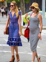 Models Candice Swanepoel and pregnant Doutzen Kroes out and about in Soho after enjoying lunch at Da Silvano Restaurant. Picture: Splash