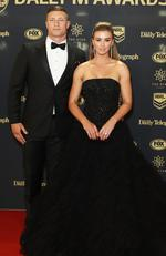 Tariq Sims of the Dragons with wife Ashleigh Sims arrive ahead of the 2017 Dally M Awards at The Star on September 27, 2017 in Sydney, Australia. Picture: Mark Metcalfe/Getty Images