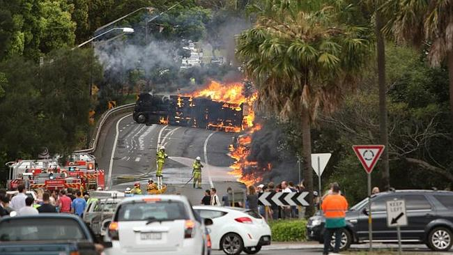 This shocking photo of the crash spread across the media. Picture: Tim Pascoe