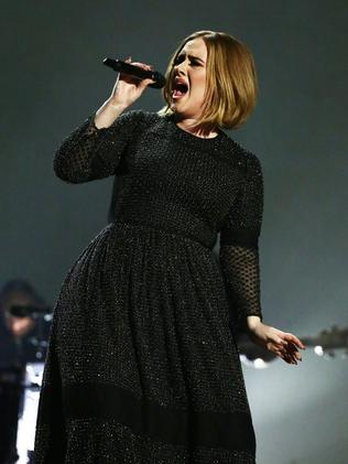 Adele debuted a smaller frame during the X Factor series finals, London in December 2015. Picture: Syco/Thames/Corbis/Dymond