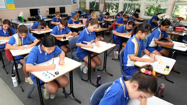 Studets taking the NAPLAN test. Picture: Steve Pohlner